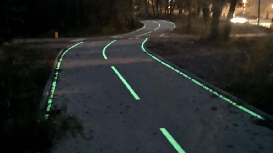 Nouvelle piste cyclable photoluminescente à Sophia-Antipolis
